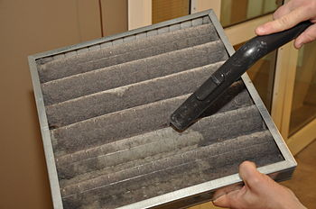 Cleaning the air cooler filter at Stacken.