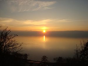 a picture of the lake of Ohrid by Sunrise
