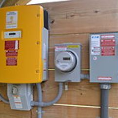 Solar Panel Meter Wiring Diagram 2009 Club Car Precedent Battery Photovoltaic System Wikipedia String Inverter Left Generation And Ac Disconnect Right A Modern 2013 Installation In Vermont United States
