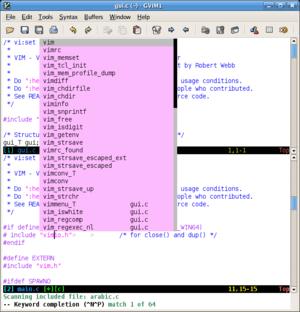 English: Screenshot of graphical vim (gvim) sh...