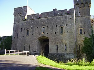 The front entrance of Caldicot Castle in south...