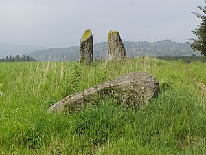 English: Cults Stone Row Row of three standing...