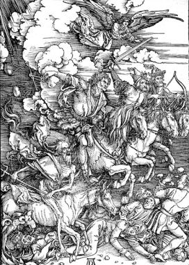 The Horsemen of the Apocalypse, depicted in a woodcut by Albrecht Dürer (ca. 1497-98)