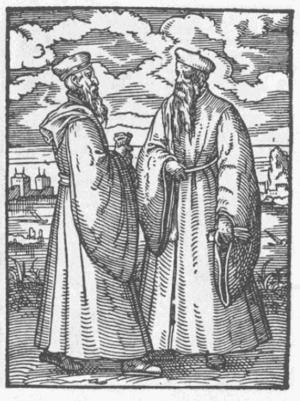 English: Noblemen conversing.