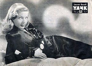 Pin-up photo of Lauren Bacall for the November...