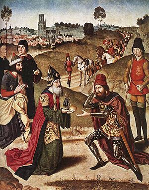 """Photograph of medieval canvas """"Abraham an..."""