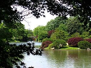 View of a bridge at the Seiwa-en garden in the...
