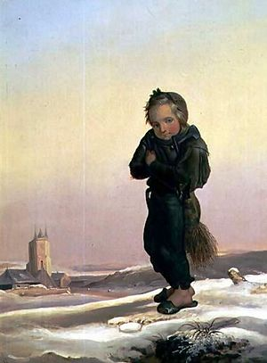 Child Chimney Sweep in Snow