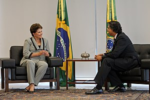 English: Brazilian President Dilma Rousseff ac...