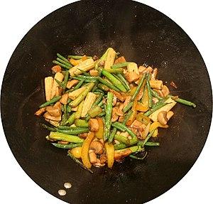 Mushrooms, celery, capsicum, beans, baby corn,...