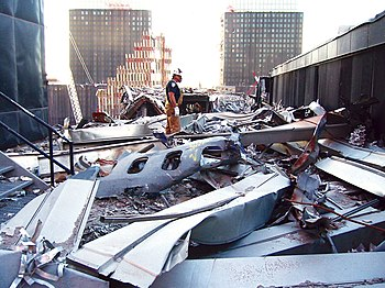 A portion of the fuselage of United Airlines F...