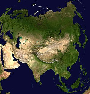 Satellite view of Asia.