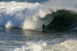 A big wave is breaking in Santa Cruz, Californ...
