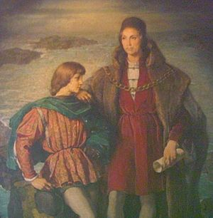 English: Christoph and Diego Columbus (left), ...