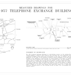 file cover sheet and map 1957 telephone exchange building southeast corner of wall street and state route 53 braselton jackson county ga habs ga 2407  [ 1280 x 853 Pixel ]