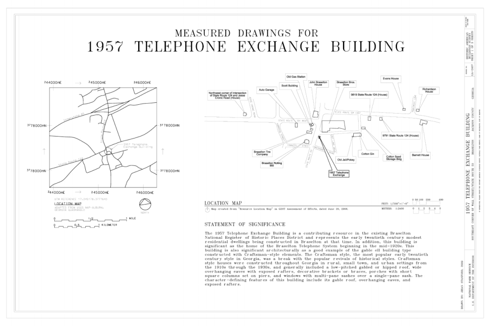 medium resolution of file cover sheet and map 1957 telephone exchange building southeast corner of wall street and state route 53 braselton jackson county ga habs ga 2407