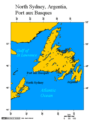 English: Argentia and Port aux Basques Newfoun...