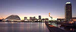 Port of Kobe at twilight in Kobe, Hyōgo Prefec...