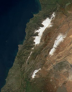 Satellite image of Lebanon in March 2002.