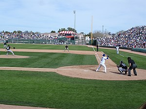 Spring training - A Cactus League game between...