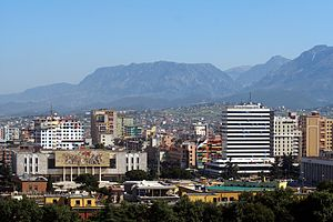 The Skanderbeg square in downtown Tirana, Alba...
