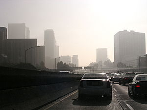 Smog and air pollution in Pasadena Highway, do...