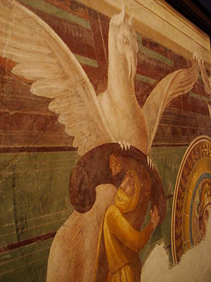 Arimaspe and Gryphon. Ancient Roman fresco (60...