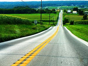 A two-way road in Amish country-side