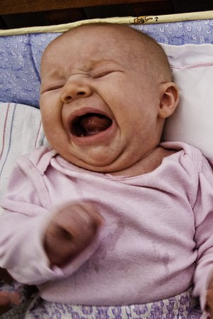 English: A hungry baby yelling and crying.