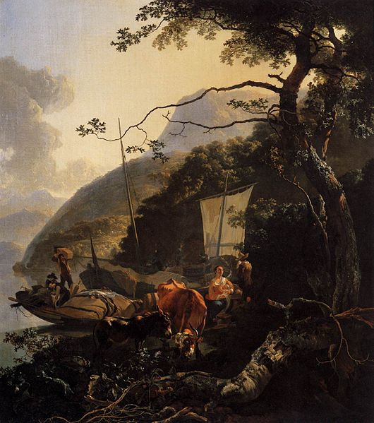 File:Boatmen Moored on a Lake Shore 1668 Adam Pynacker.jpg