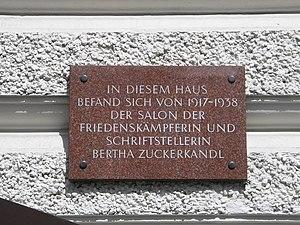 Memorial plaque for the Salon of Bertha Zucker...