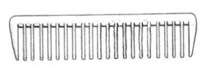 line art drawing of hair comb.
