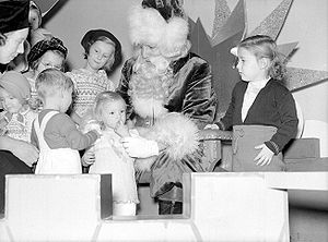 Children visiting Santa Claus, Eaton's departm...