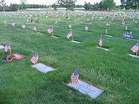 Flags flying at Fort Logan National Cemetery during Memorial Day 2006.
