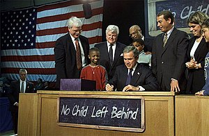 President Bush signing the bipartisan No Child...