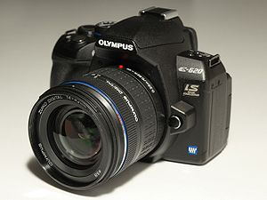 Olympus E-620 DSLR with 14-42 mm 3.5-5.6 kit lens.
