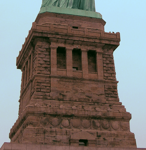 Pedestal of Statue of Liberty, cropped and col...