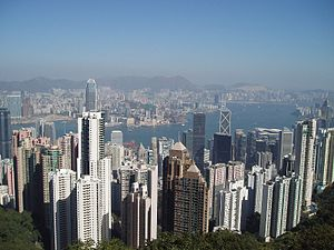 The view of Hong Kong, Kowloon and Victoria Ha...