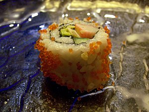 California roll served in Shanghai, China. Pre...