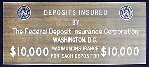 FDIC placard from when the deposit insurance l...