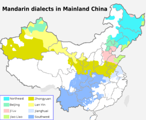 Translation of Chinese map of Mandarin dialects