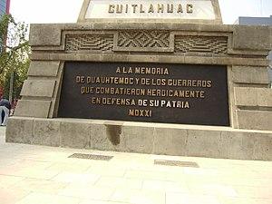 Español: Placa inaugural del Monumento a Cuaht...