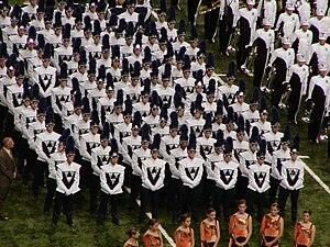 English: Rosemount High School marching band b...
