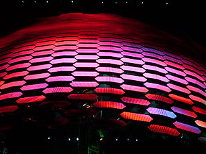 An image of the U2 360° Tour video screen as i...