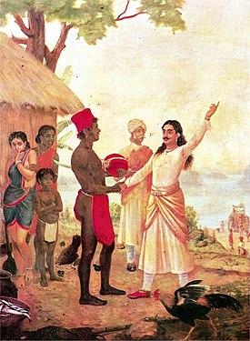 Bisma (kanan)  bersumpah tak akan menikah seumur hidupnya. Lukisan karya Raja Ravi  Varma.