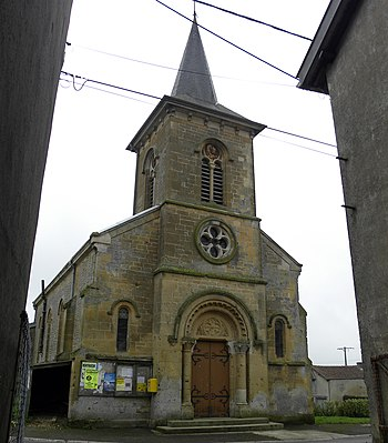 English: Church at Cunel, France, on the Meuse...