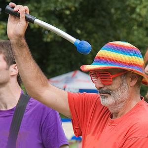 David Spiegelhalter playing with Arco Iris sam...