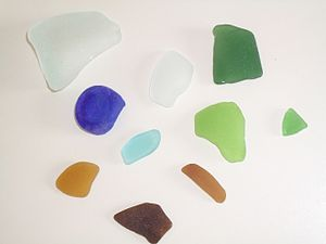 Sea glass in several colors and shapes.