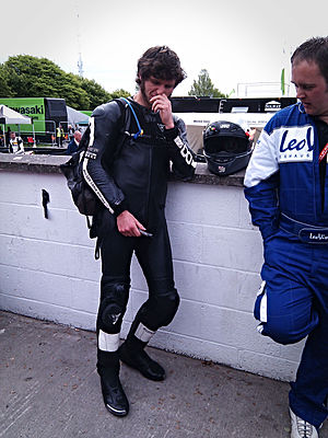 Guy Martin preparing for a race at the Isle of...