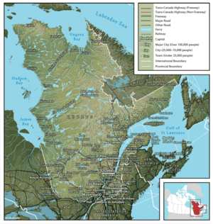 English: Map of Québec Français : Carte du Québec